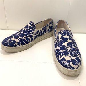 PRADA Flower Pattern Canvas Sneakers Sz 40.5